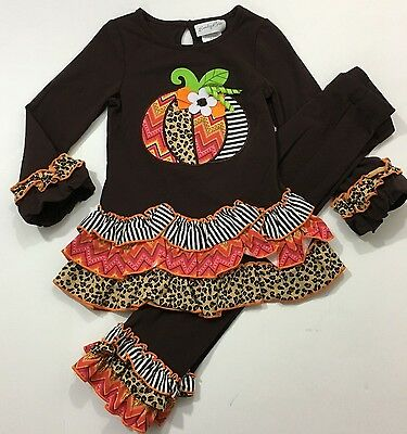 Emily Rose NWT Size 2T 3T 4 5 Boutique Thanksgiving Pumpkin Halloween Outfit