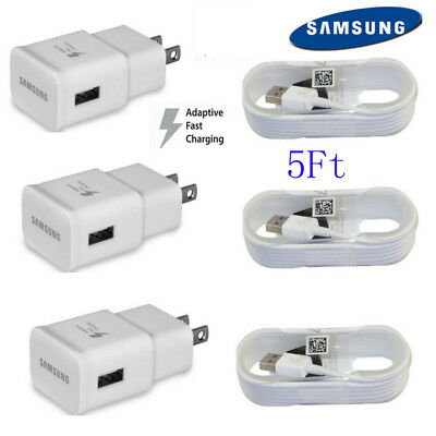 OEM Samsung Galaxy S6 S7 Note 4 Note 5 Fast Charging Wall Charger - 5 FT Cable