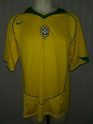 Mens Yellow Nike Brazil Authentic 2014 World Cup Short Sleeve Soccer Jersey -XL