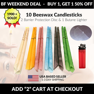 10 Scented Beeswax Candles Cleaning Cones Hollow Candle Wax Ear ring Kit