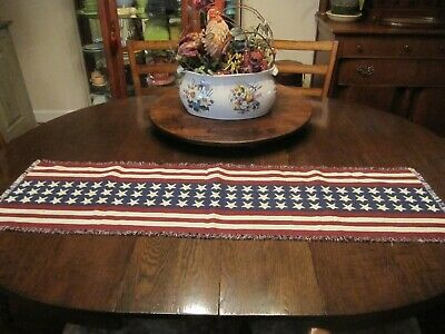 FOURTH OF JULY TABLE RUNNER STARS - STRIPES RED WHITE - BLUE