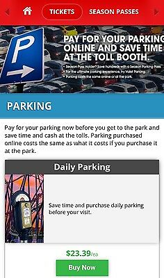 Any Six Flags Park Great Adventure Magic Mountain etc Parking Pass 2019