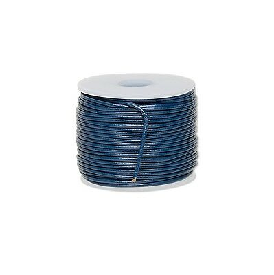 Genuine Round Leather Cord Dark Blue 1mm 25 yards