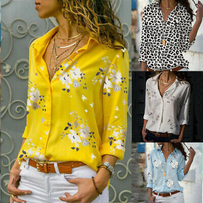 Womens Leopard Print Tops Tees Button Button T Shirts Blouse V Neck Slim Casual