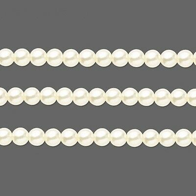 Round Glass Pearls Beads- Ivory 6mm 16 Inch Strand