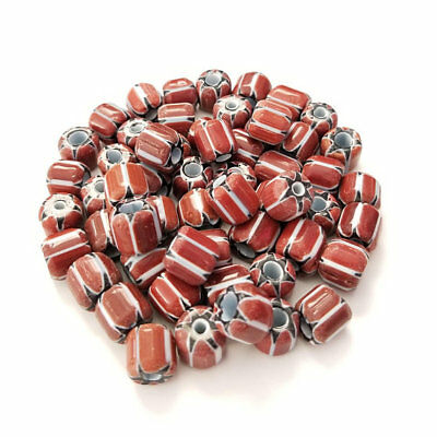 Chevron glass Africa trade beads 8x9mm Oval Cylindrical Brown Black and White