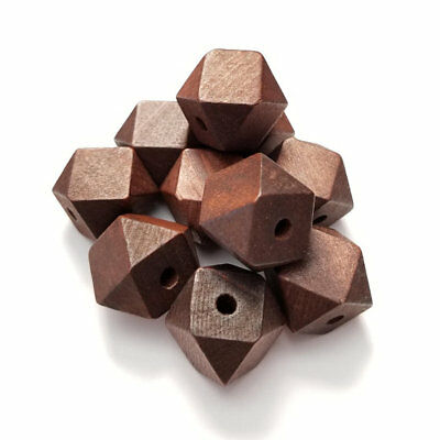 faceted cube wood beads Dark Brown hand cut 20x20mm