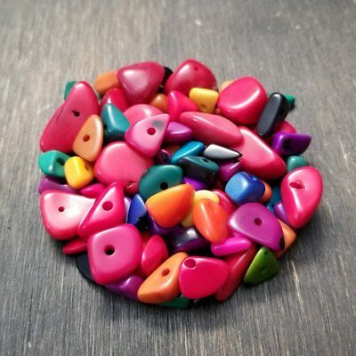 Tagua nut freeform beads 6-20mm mixed colors