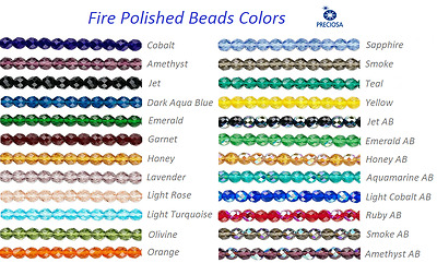 16 Inch Strand Preciosa Czech Fire Polished Glass Faceted Round Beads 4mm
