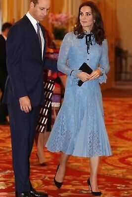SSA Kate Middleton Inspired 2019 Spring Summer Fashion Womens Blue Lace Dress