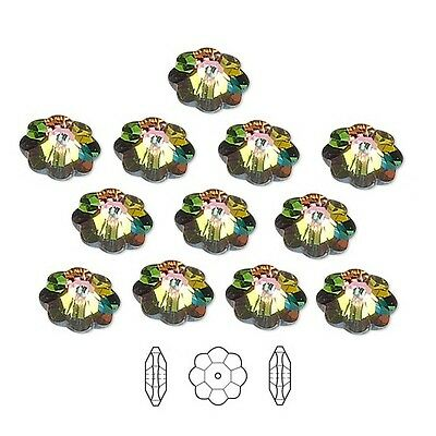 12 Swarovski Crystal Beads Faceted Marguerite Flower 3700 10x3-5mm