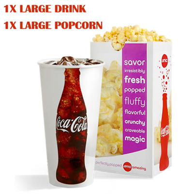 AMC 1 LARGE POPCORN AND 1 LARGE DRINK - FAST EMAIL DELIVERY - Expires 063020
