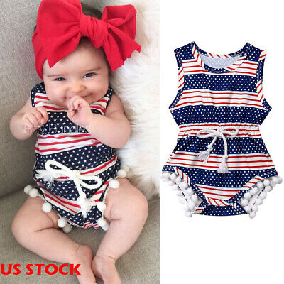 USA Newborn Baby Girl 4th of July Tassel Romper Bodysuit Sunsuit Clothes Outfits