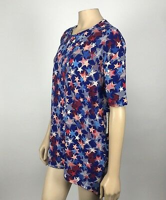 Lularoe Irma Top Size XS Red White Blue Stars 4th of July Hi Lo Stretch NWT