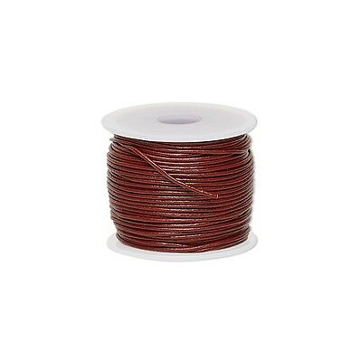 Genuine Round Leather Cord Rose 1mm 25 yards