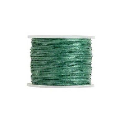 Waxed Cotton Cord Cord Green 2mm- Spool of 25 meters  27-3 Yards-