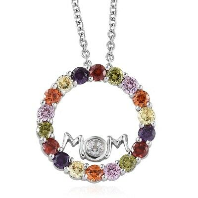 Silver Cubic Zirconia CZ Pendant Necklace MOM Mother's Day