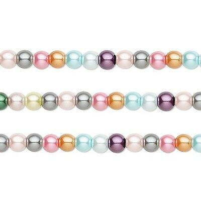 Round Glass Pearls Beads- Mixed Colors 4mm 16 Inch Strand