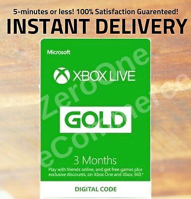 Microsoft Xbox Live 3 Month Gold Membership ⚡⚡INSTANT DELIVERY RETAIL 24-99⚡⚡