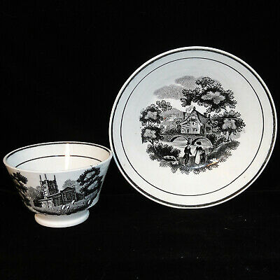 Early Black Staffordshire Childs Cup-Saucer Tea Set POND YACHT 1820 Transferware