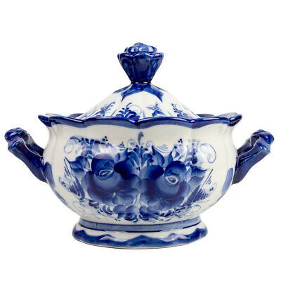 Candy Dish with Lid and Handles- Ghzel Russian Porcelain Serving Bowl Tureen