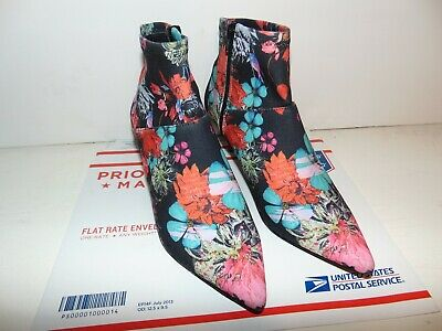 STEVE MADDEN VIDA Womens Pointy Toe Bootie Floral Fabric Size 8 Side Zipper Exc