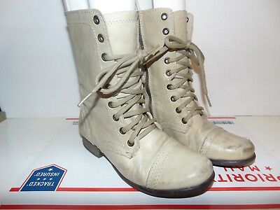 STEVE MADDEN TROOPA  Ankle Boot Lace UP Side Zipper Beige leather Size 5-5 Good