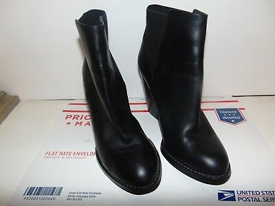 ALDO Womens High Heel Ankle Boot Black LeatherGore Size 8-5 Pull ON Great Cond