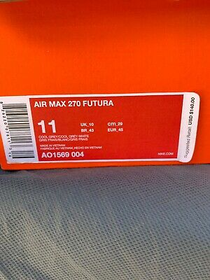 Nike Air Max 270 Futura Mens Cool Grey White Sneakers Shoes AO1569-004 Size 11