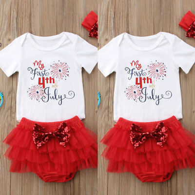 Infant Baby Girl My First 4th of July Outfit Romper-Tutu Pants-Headband 3PCS SET