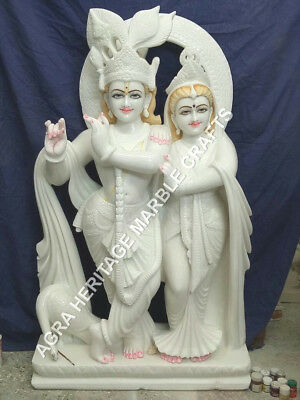 24 Beautiful Marble Radha Krishna Best Couple Religious Statue Patio Decor E740