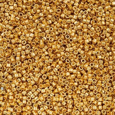 DelicabGlass Seed Beads 7-5g Round 11 opaque bright 24Kt gold-finished DB0031
