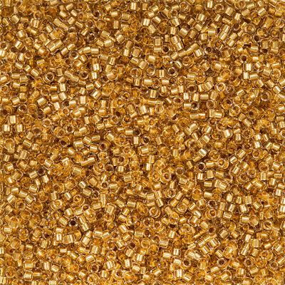 Delica Seed Beads 7-5g Round 11 24Kt gold-lined translucent crystal DB0033