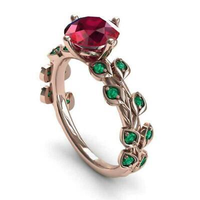 Safflower Green Leaf Colored Zircon Ladies Ring Charm Jewelry Mothers Day Gift