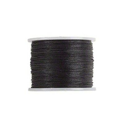 Waxed Cotton Cord Cord Black 1mm- Spool of 25 meters  27-3 Yards-
