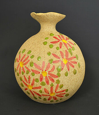 Hand Made - Hand Painted Pottery Vase 5 H x 4 W RSRC-1