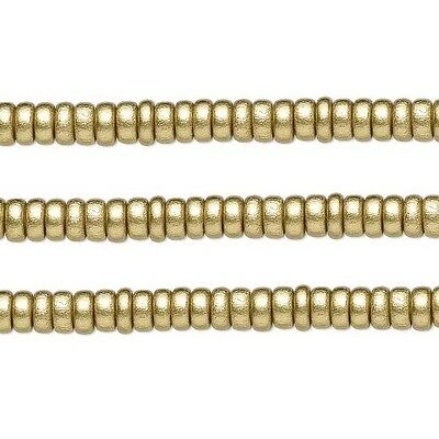 Wood Rondelle Beads Gold 8x4mm 16 Inch Strand