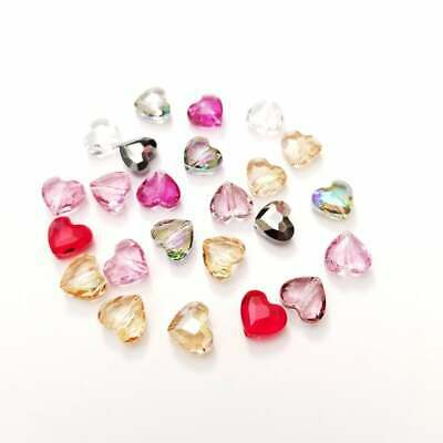Swarovski® Crystal faceted heart LOVE Beads 8MM 5741 Mixed Colors Package of 2