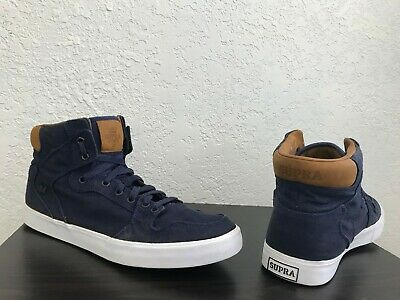 Supra Vaider Size 12 Men's Lace Up High Top Shoes Fashion Sneakers - Navy Blue
