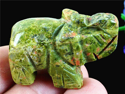 E18763 40x23x17mm Natural Unakite Jasper Hand Carved Elephant Figurine