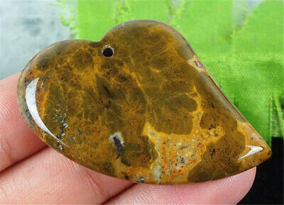 E14716 36x35x7mm Natural Greenyellow Ocean Jasper Heart Pendant Bead