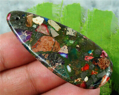 E14785 50x20x7mm Multi-Color Sea Sediment Jasper Teardrop Pendant Bead