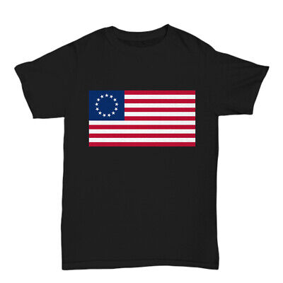 Betsy Ross Flag T-Shirt Tee Shirt Cotton 4th of July 13 Star American USA
