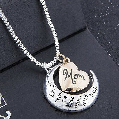 Mothers Day Necklace Pendant Heart Gifts I Love You To The Moon And Back