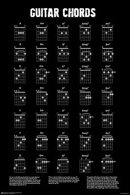 GUITAR CHORDS CHART - BLACK - WHITE POSTER - 24 x 36 - MUSIC 11465