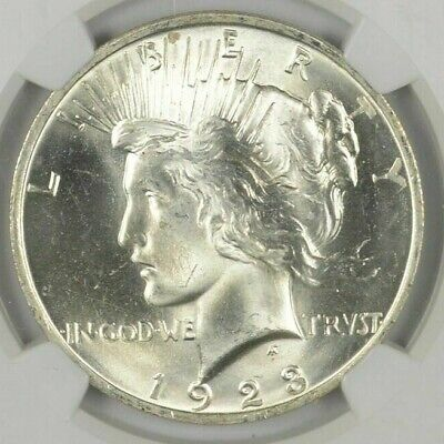 1 1923 Peace Silver Dollar Uncirculated BU Condition - From roll