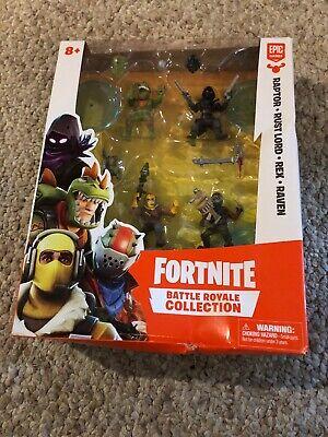 Fortnite Battle Royale Collection 4 Mini Figure Raptor Rust Lord Rex Raven Set