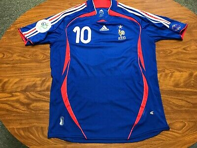 MENS ADIDAS FRANCE ZINEDINE ZIDANE 2006 WORLD CUP NATIONAL SOCCER JERSEY SIZE XL