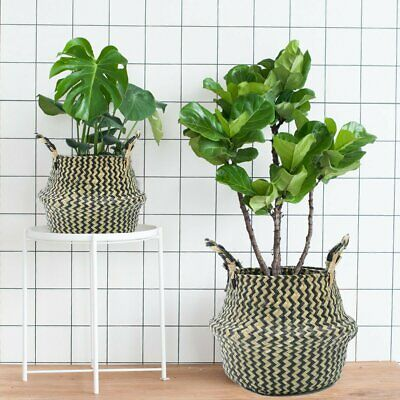 Foldable Seagrass Woven Belly Basket Storage Flower Planter Pot Laundry Bag