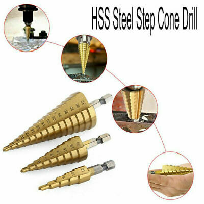 3pcs 4-122032mm Large HSS Steel Step Cone Drill Titanium Bit Hole Cutter Set